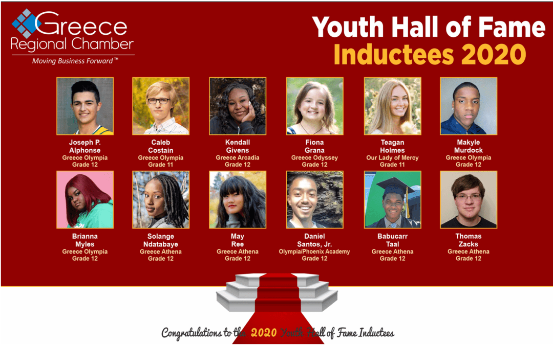 2020 Youth Hall of Fame Inductees and Business Sponsors